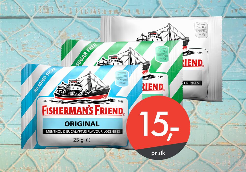 Fishermans Friend til kun 15,-