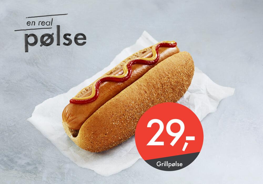 Real grillpølse til kun 29,-