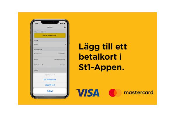 Lägg till ett betalkort i St1 - appen