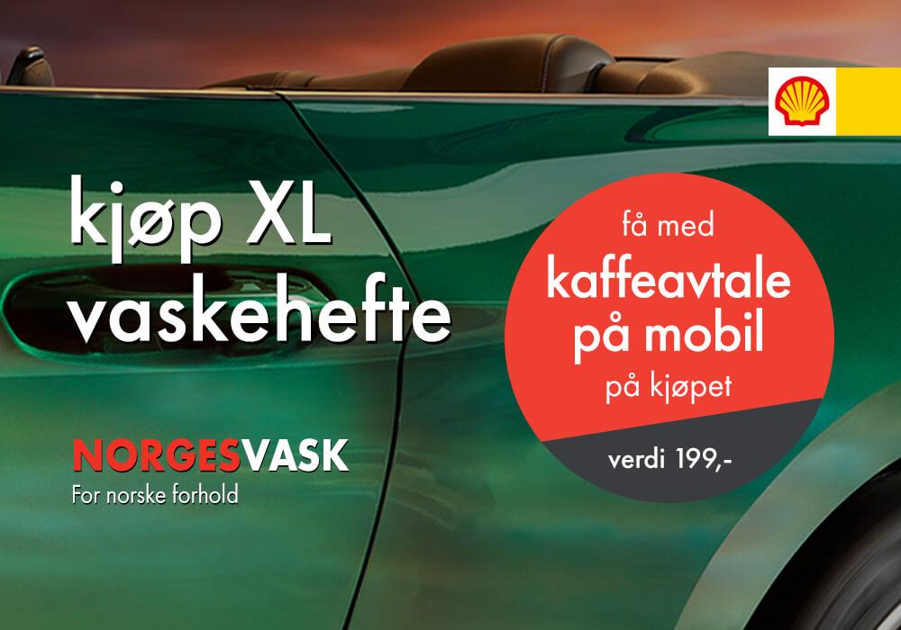 XL vaskehefte + kaffeavtale på mobil