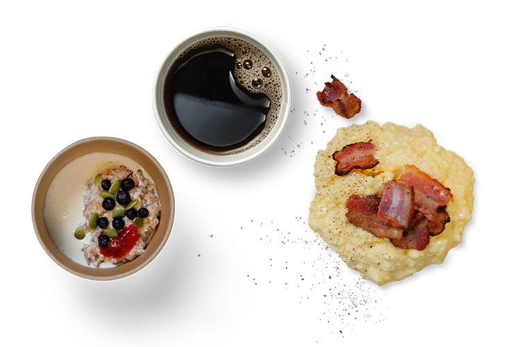kaffe, äggröra, yoghurt