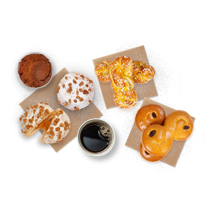 Kaffe, lusebullar, colamunkar, saffranskransar och pepparkaksmuffins.