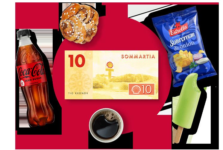 coca-cola, kanelbulle, pigelin, kaffe, chips och sommartian