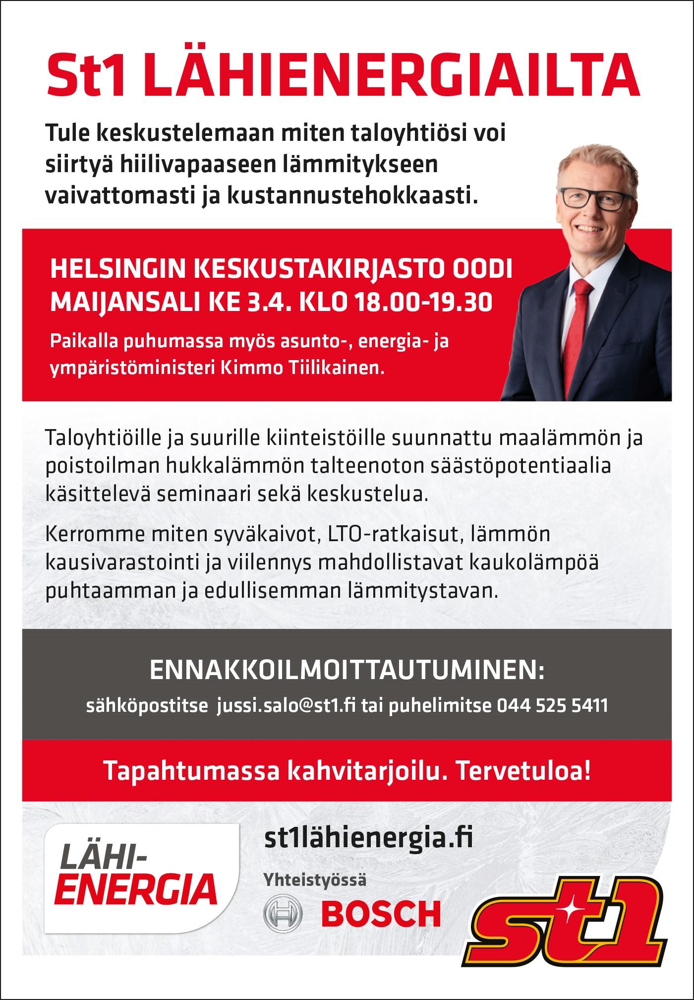 Ministeri Tiilikainen Lähienergiaillassa